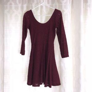 Maroon long sleeve mini dress